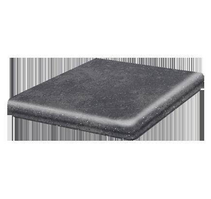 Клинкерная ступень флорентинер угловая Stroeher Roccia 845 nero, 345х345 мм